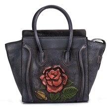 229419549 Bolso de cuero genuino bolso de piel de vaca Real bolso cepillo de Color  rosa de las mujeres hombro bolsa