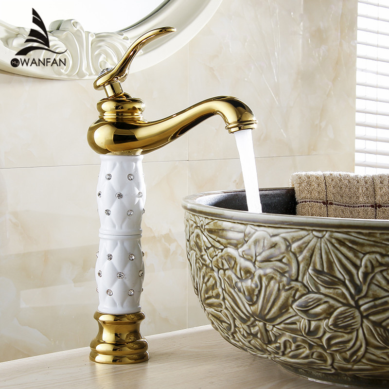 Basin Faucets Euro Gold Washbasin Faucet Luxury Tall Bathroom Basin Taps Single Handle Vanity Single Hole Mixer Water Taps 814K basin faucets modern gold faucet single hole bathroom faucets black bathroom sink mixer taps diamond on handle top wf 18055