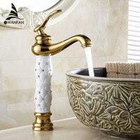 Free Shipping 2014 NEW Euro Gold Finish Luxury Tall High Bathroom Basin Faucet Single Handle Vanity