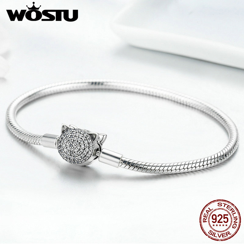 WOSTU 100% 925 Sterling Silver Pink AAA Cubic Zircon Charm Strand Bracelets For Women Fit DIY Beads Sterling Silver Jewelry Gift