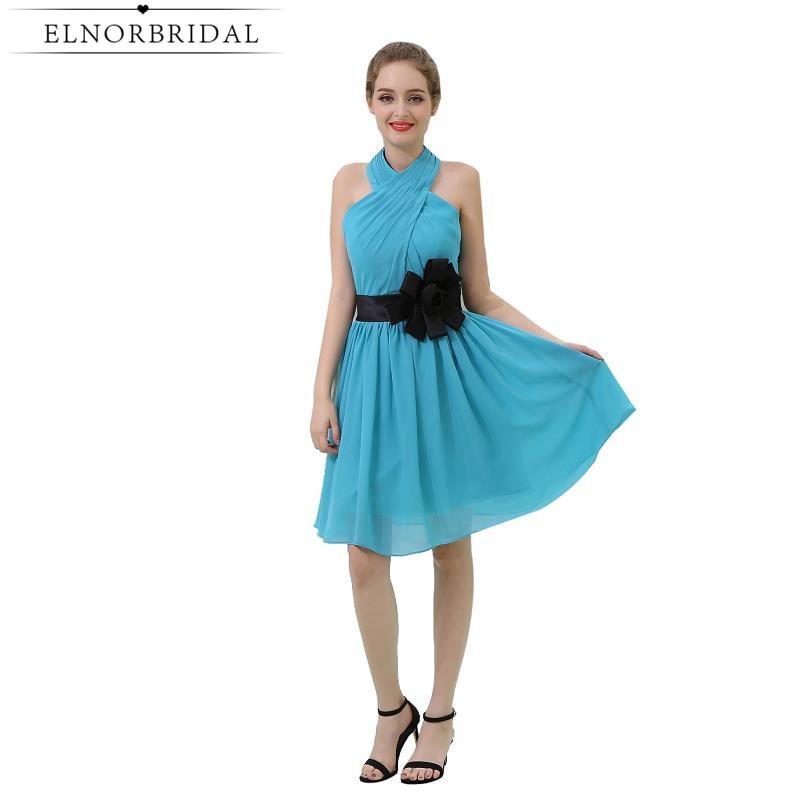 Sky Blue Bridesmaid Dresses Knee Length 2017 Cheap Robe Demoiselle D ...