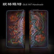 OLG.YAT handmade wallet  mens purse Cowhide wallets women handbag Dragon genuine Vegetable tanned leather bags Choi cloth Retro