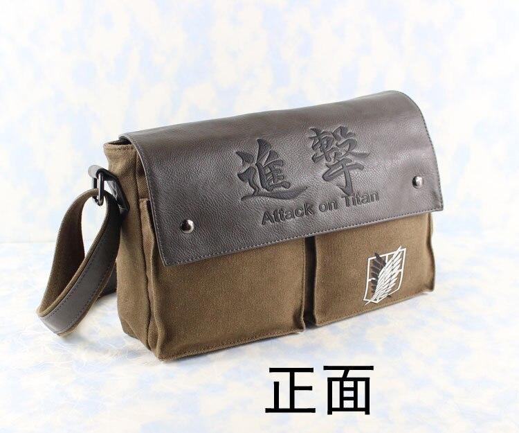 Anime Shingeki no Kyojin Attack on Titan Scouting Legion Genuine Leather Canvas Shoulder Bag Messenger Bag free shipping