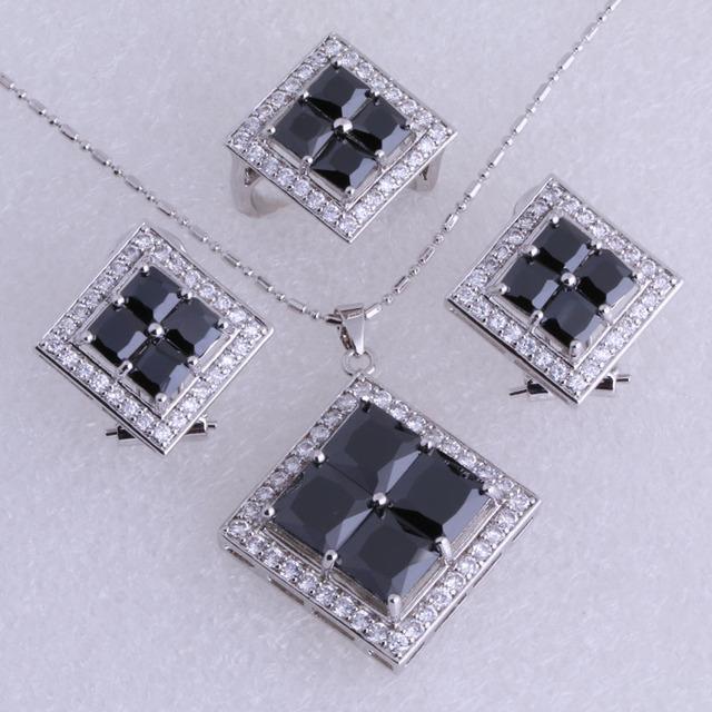 Classic Imitación Negro Onyx Cubic Zirconia de Plata Estampado 925 Oro Collar/Colgante/Pendientes de Clip/Anillos set de Joyas SH0086