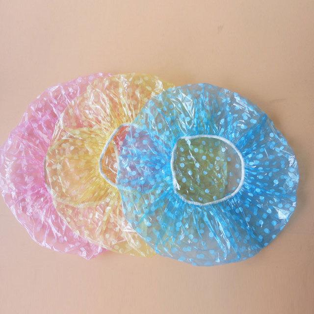 3PCS/lot Cute Dots Women Lady Girl Waterproof Elastic Plastic Shower Bathing Salon Spa Hair Cap Lovely Bath Hat Health Care