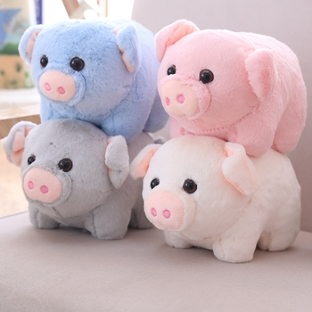 22cm New Cute Piggy Short Plush Toy Soft Cartoon Animal Four Colors Pig Stuffed Doll Kids Playing Dolls Bedroom Decoration Gifts stuffed toy