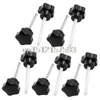 10pcs M6 X 60mm Male Thread 32mm Plastic Star Head Screw On Clamping Knob