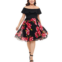 Plus Size Multi-color Floral Off-the-shoulder Dress With Ruffles