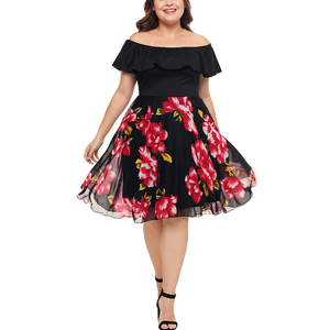 feitong Plus Size Women Mini Party Dresses Lady Casual