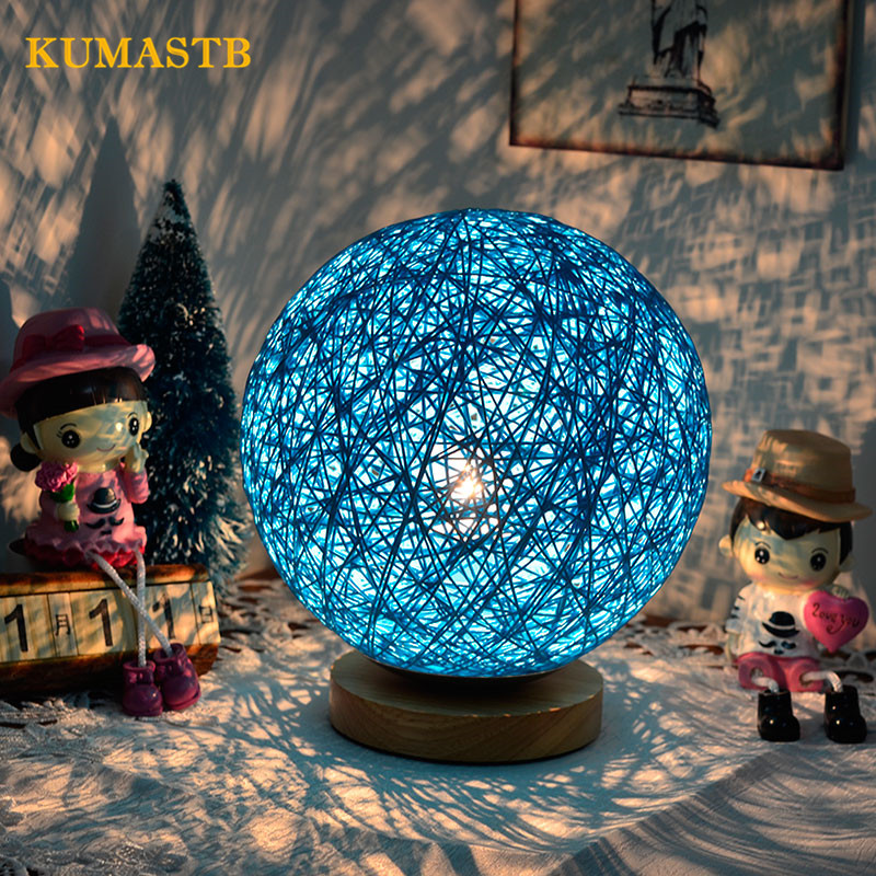 Twine Ball Table Lamp Dimmer Wood LED Night Light Home Decoration Bedside Desk Light Modern Warm White Small Night Lamp