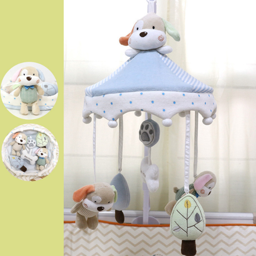 Toddler Bed Hanging Dog Happy Home Baby Plush Wind Chime Toys Newborn Infant Crib Rattles Bell Toy Cartoon Animal