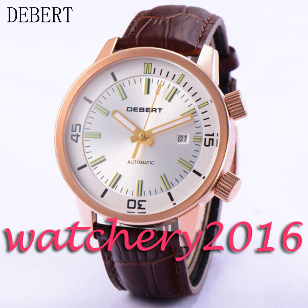 Luxury 45mm Debert white dial leather strap miyota 821A Automatic movement men's Watch ultra luxury 2 3 5 modes german motor watch winder white color wooden black pu leater inside automatic watch winder