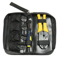 Insulated Terminals Ferrules Crimping Carbon Pliers Ratcheting Crimper Tool 5 Interchangeable Tips Screwdriver Black Storage Bag