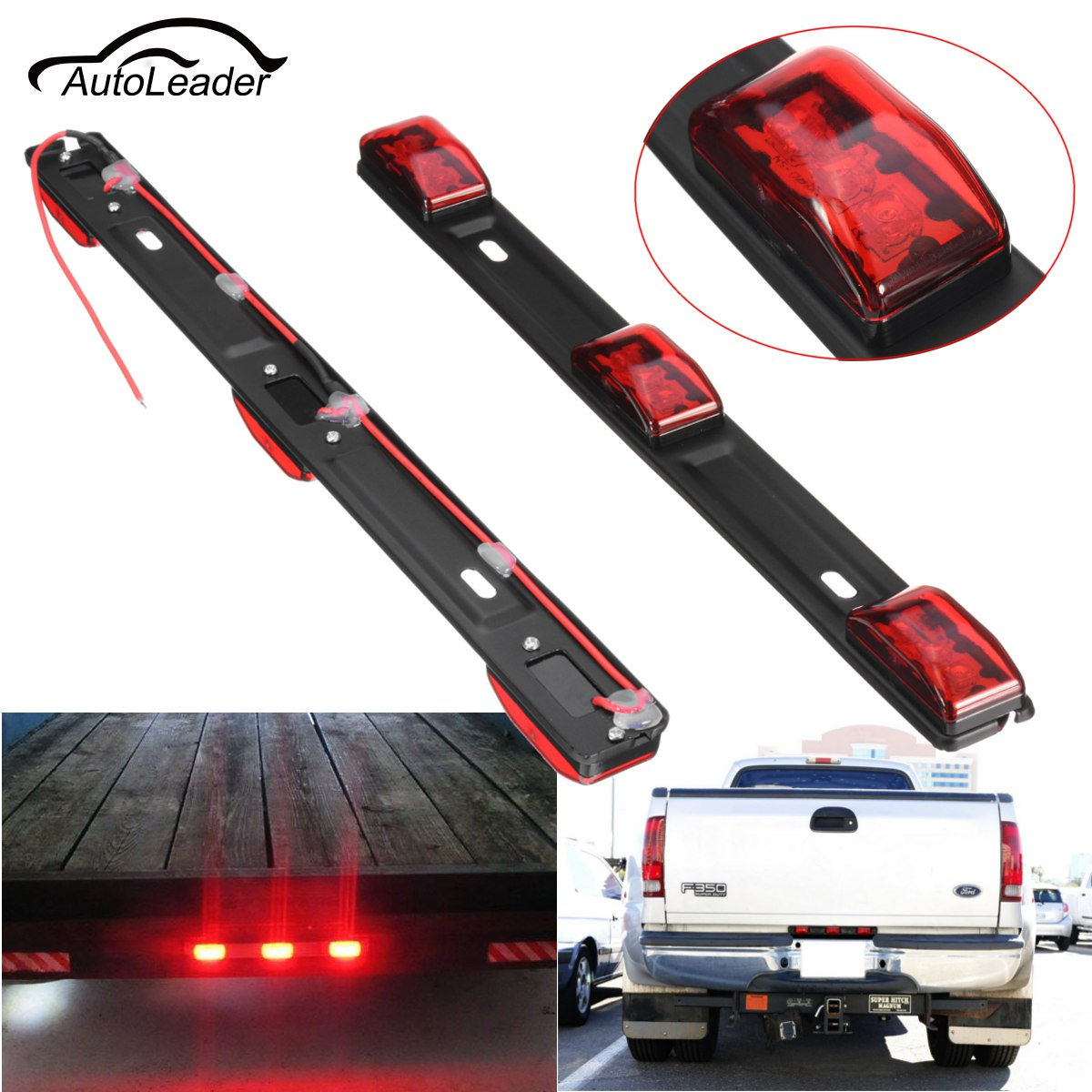 1pc Led Car Tail Light Truck Trailer 14 Quot Red Universal 3