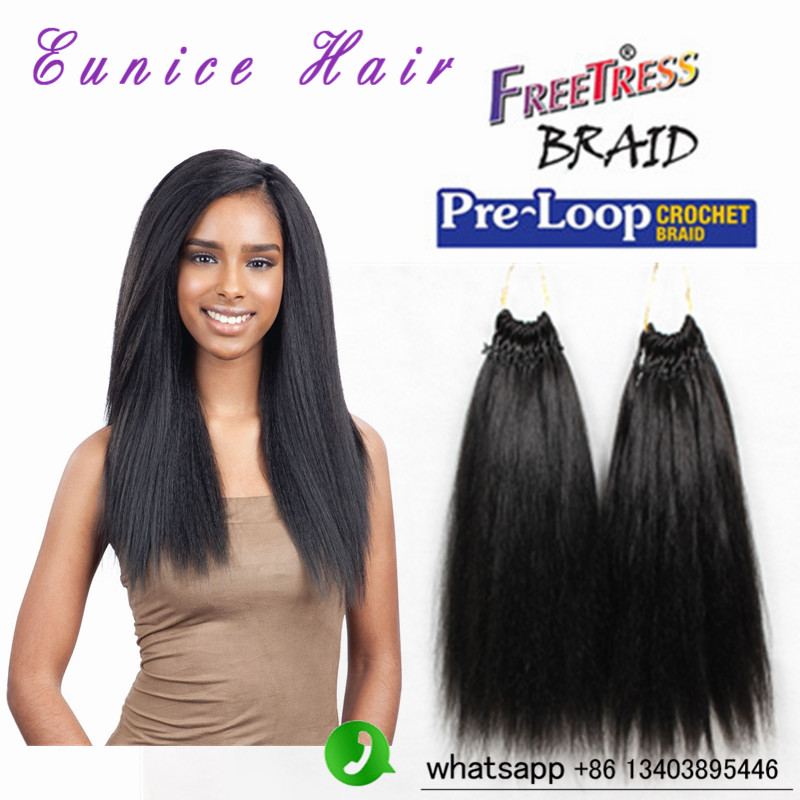Synthetic braiding hair prelooped yaki straight crochet freetress braids 18″human feeling jumbo loop braids afro kinky straight