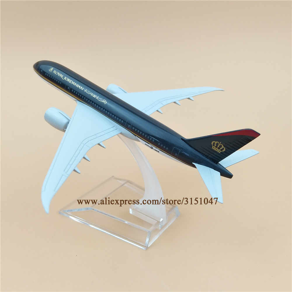 16cm Metal Plane Model Air  Royal Jordanian Airlines Boeing 787 B787 Airways Aircraft Airplane Model w Stand  Gift