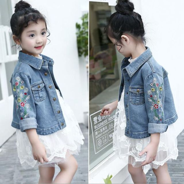 71b7bac63 2017 Spring Autumn Long Sleeve Baby Girl Denim Jacket Kids Clothes  Embroidery Floral Cardigan Girls Coats Jackets Outwear JW2101