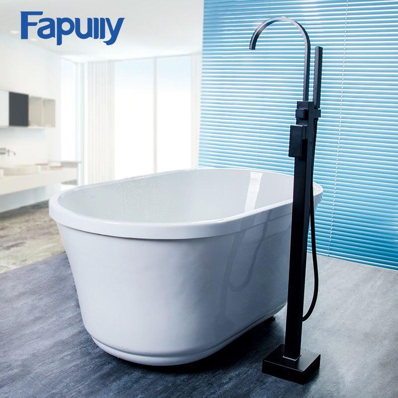Fapully Basin Faucet Black Oil Rubbed Bronze Floor Mount Hand Shower Set Sprayer Mixer Faucet Bath Tap Shower Bathtub Faucet in Shower Faucets from Home Improvement