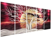 abstract metal wall art sculpture multi panel modern home decoration 384