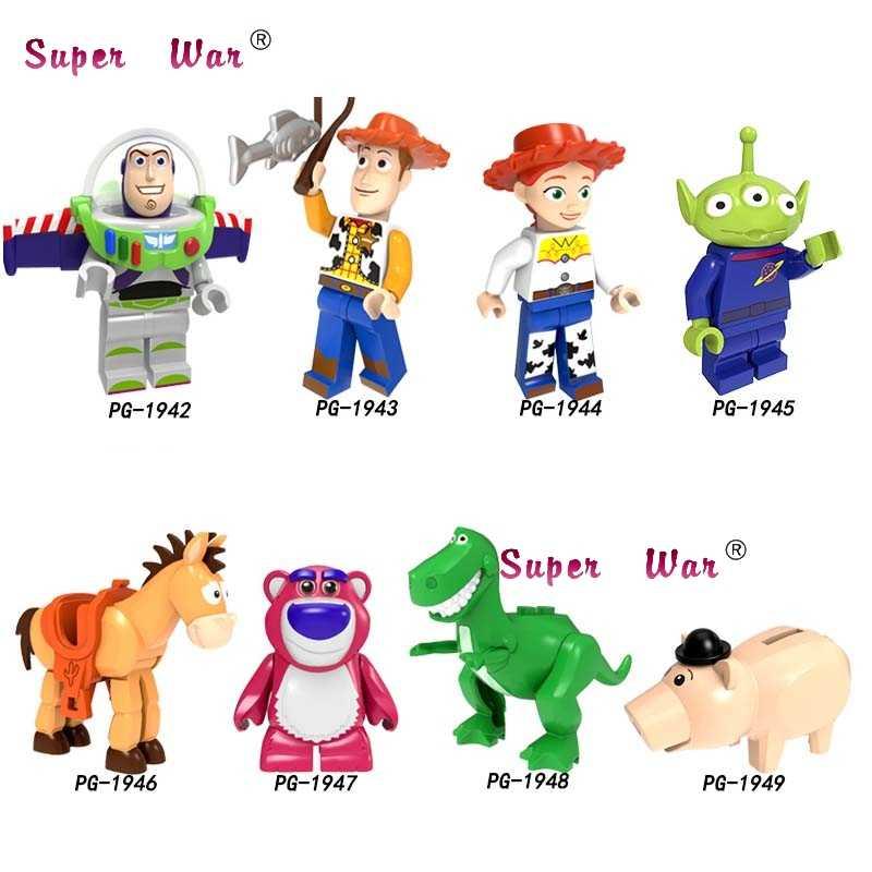 Blocos de Construção de Brinquedos Dos Desenhos Animados História Woody Jessie Zumbido único corações Vermelhos Hamm Bulleye Aliens Lotso Figuras Sonic brinquedos para as crianças