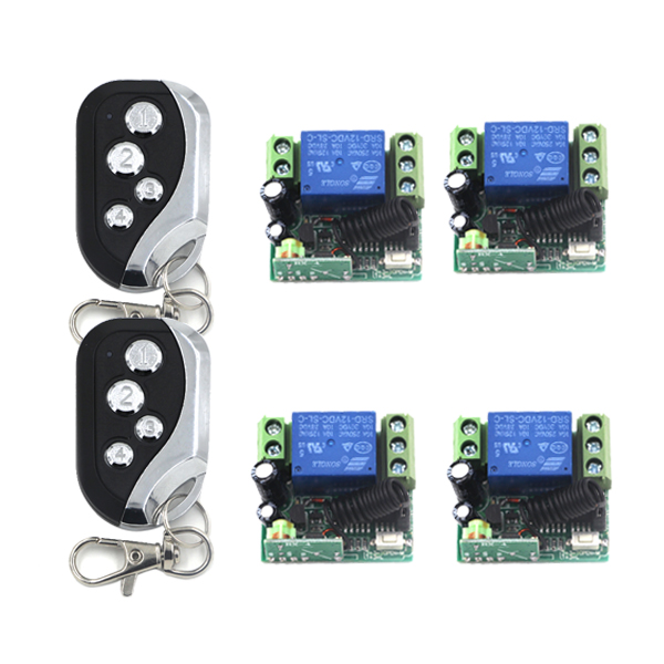 12V RF Wireless 1 Channel Remote Control Switch for Gate Garage Door Control 4*Receiver and 2*Transmitters SKU: 5417