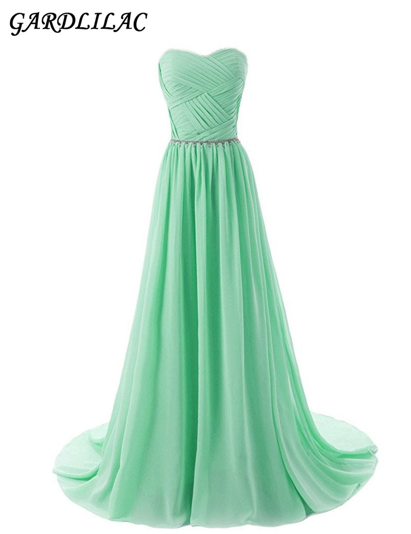 US $89.99 |Mint Beach Chiffon Bridesmaid Dresses Plus Size ChampagneWedding  Party Gown Pleat Top Maid of Honor Long Prom Dress-in Bridesmaid Dresses ...