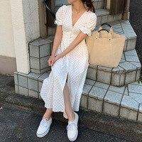 Sexy Summer Dress 2019 Split Deep V neck Tunic Button Vintage Korean Casual Beach Party White Dress Elegant Plus Size Vestidos