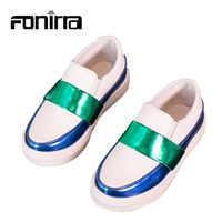 Новинка; модная детская повседневная обувь из искусственной кожи; металлические цвета; детская обувь на плоской подошве для мальчиков и дев...
