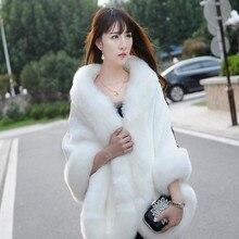 2019 נשים החורף מקרית אירוע לעטוף כלה לעטוף מעילי החורף חם פו פרווה חתונת מעיל