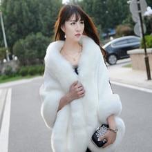 Veste portefeuille en fausse fourrure pour femmes, manteau dhiver chaud en fausse fourrure pour femmes, manteau de mariage, 2019