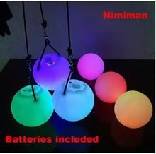 4pcs Waterproof Changing Color Professional Belly Dance Level Hand Props LED POI Thrown Balls sale with batteries & strings