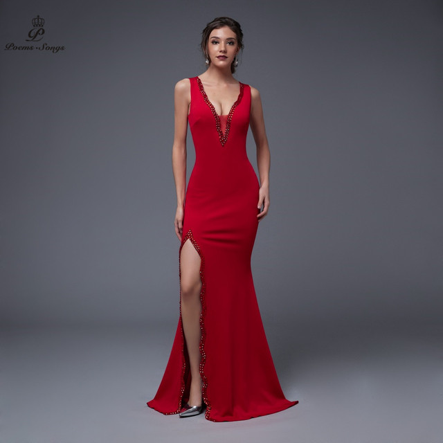 Poems Songs 2019 New Year Doube-V SEXY Evening Prom Slit Side Open Mermaid  Party dress vestido de festa Vintage robe longue 5