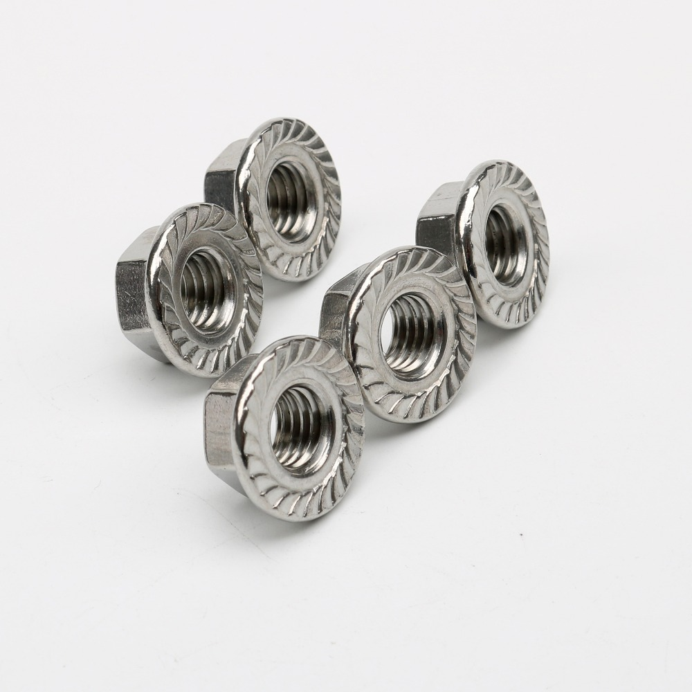 50 Pcs Flange Face Big Toothed Lock Nuts M4 M5 M6 M8 M10 DIN6923 Stainless Steel 304 Free Shipping in Nuts from Home Improvement