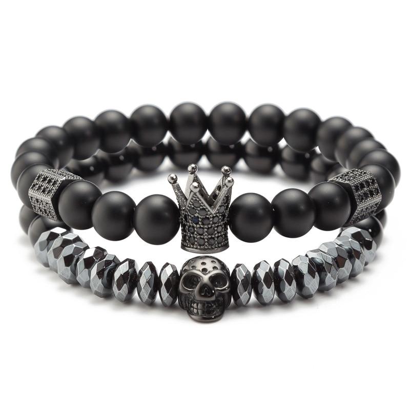 DIEZI Couple His And Hers Bracelets Black Beads CZ Crown Skull King Charm Bracelet Lovers Natural Stone Strand Bracelet Браслет