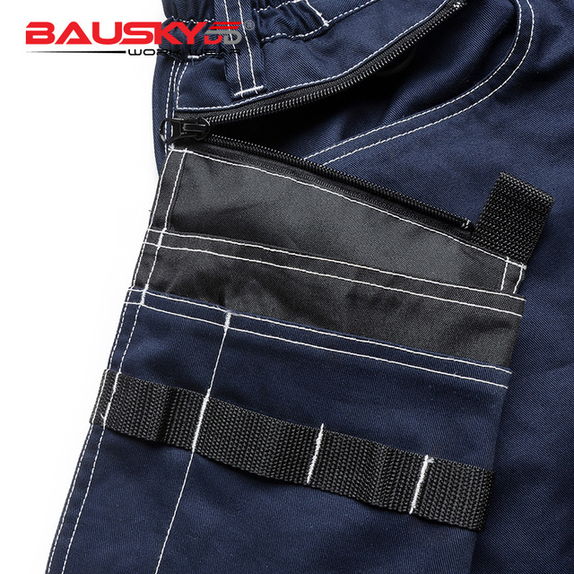 Bauskydd Mens carperner 100% cotton durable multi pockets work trousers with eva  knee pads work pant workwear  free shipping 3