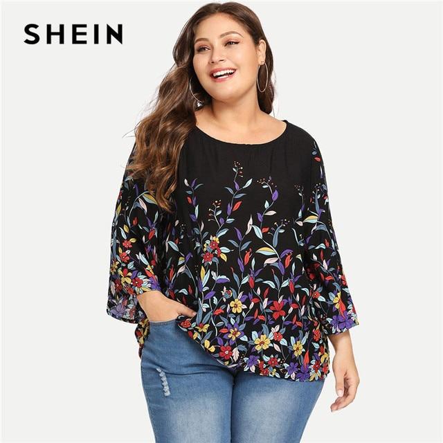 SHEIN Floral Print Navy Plus Size Round Neck Casual Women Blouse 2018 New Three Quarter Sleeve Botanical Print Rayon Blouses 4