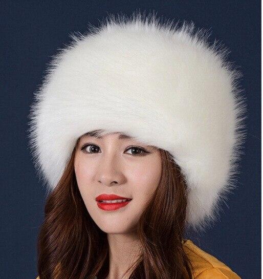 2018 Women Hats Lady Russian Tick Fluffy imitation Fox Fur Hat Headband  Winter Earwarmer Ski Hat d7efe03b887