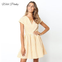 WildPinky 2019 New Sexy V-neck Dress Women Summer Yellow Striped Print Short Sleeve Sundresses Mini Party Beach Vestidos