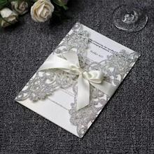 20pcs/lot Glitter Paper Wedding invitations Silver Gold Laser Cut Invitation Card with Blank inner card Universal Cards