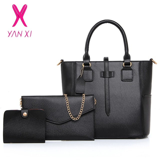 6ceaa6c2313 YANXI Shop Online Fashion Lady Tote Shoulder Day Clutches Designer Black  Purse And Handbags Leather Women Quality Composite Bag-in Top-Handle Bags  ...