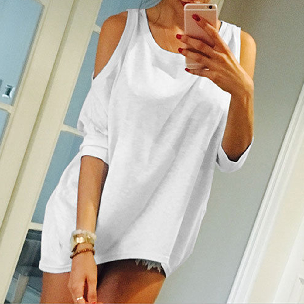 Summer Women Off Shoulder Shirt Loose Stylish European Style Ladies Casual Solid Tops Soft Fashionable Simple Female T-shirts
