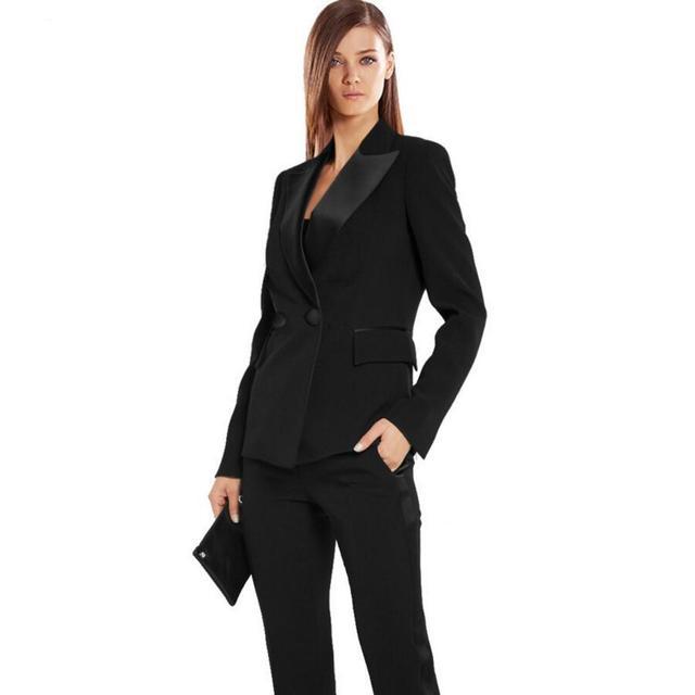 Donne Tailleur Pantalone Nero Autunno Formali Bussiness Set Elegante  Blazers Pantaloni Ufficio Uniforme Adatta Alle Signore 173fd2c1e8f