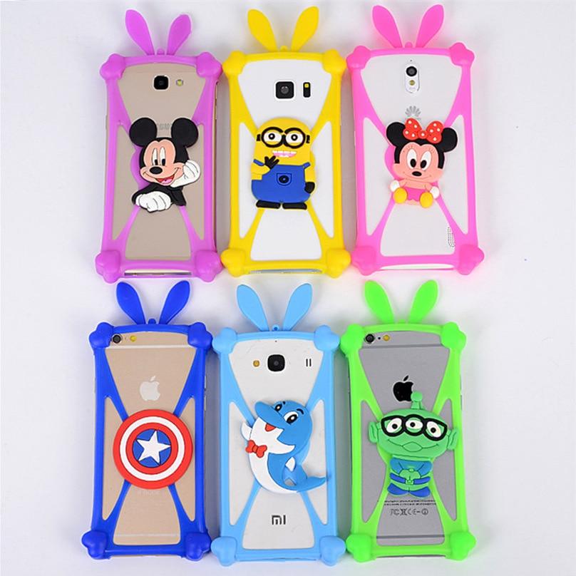 Cute Cartoon Silicone Universal Cell Phone Holster Cases Fundas For Fly IQ4406 ERA Nano 6 Case Silicon Coque Cover