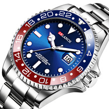 цены Men Watch Luxury Brand Watch Man Sports Watches Rotatable Bezel GMT Sapphire Glass Date Stainless Steel Quartz Wristwatches Gift