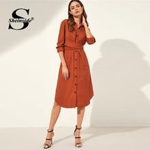 3228fa6ea0 Sheinside naranja nudo detrás curvada dobladillo camisa Vestido de manga  larga de las mujeres señoras de la oficina trabajo vest.