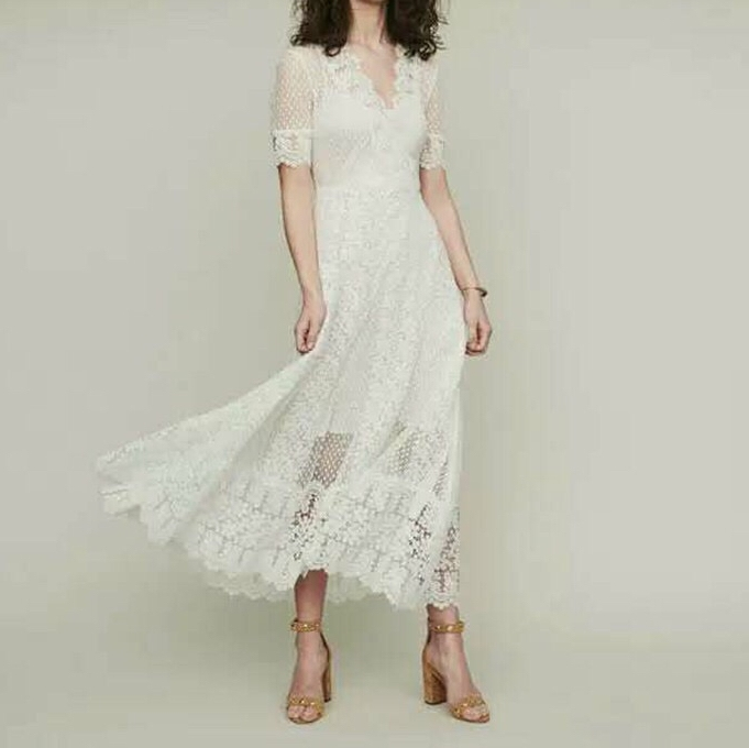 2019 spring and summer new V neck short sleeve hollow out lace embroidery women elegant long lace skirt