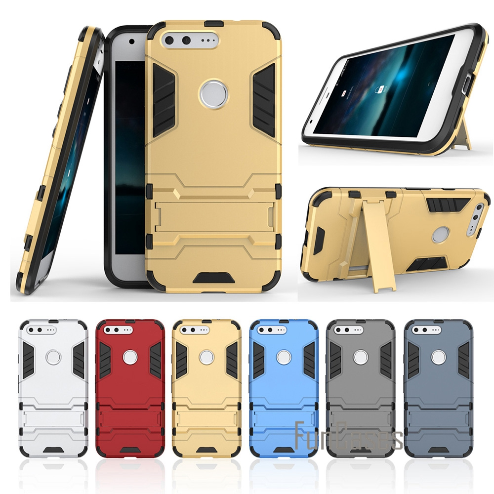Case For Google Pixel XL 5.5 Inch Anti Knock Hard Plastic Silicon Stand Back Armor Cover Phone Bags Case For Google Pixel XL (^