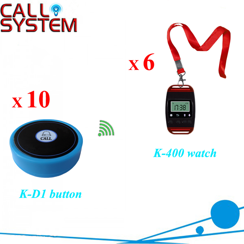Hospital nurse call system 10pcs bell buzzer with 6pcs watch receiver can hang on neck wireless pager system 433 92mhz wireless restaurant table buzzer with monitor and watch receiver 3 display 42 call button