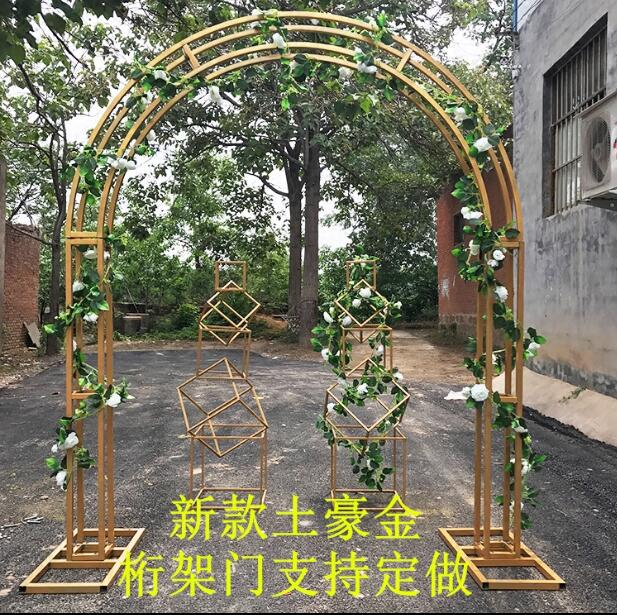 Gold rack wedding truss custom arch background decoration cherry blossom round flower gate