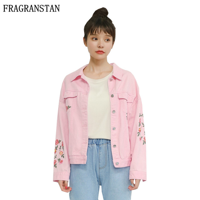 edb1d335433 Spring Autumn Girl New Fashion Pink Denim Jackets Long Sleeves Flower  Embroidery Sweet Slim Female Short Coat All Match Top GH39